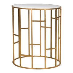 gold geometric accent table
