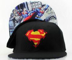 Superman Snapback Hats Adjustable Caps Black Underbrim Logo 191