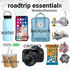travel essentials roadtrip essentials icedcoffeeniche on - traveling essentials Road Trip Checklist, Travel Packing Checklist, Road Trip Packing List, Travel Bag Essentials, Travel Necessities, Road Trip Essentials, Road Trip Hacks, Travelling Tips, Packing Tips