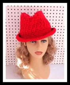 Red Crochet Hat Womens Hat Womens Fedora Hat Red Hat Crochet Winter Hat ANDY Crochet Fedora Hat for Women by strawberrycouture on Etsy  Red Crochet Hat Womens Hat Womens Fedora Hat Red Hat Crochet Winter Hat ANDY Crochet Fedora Hat for Women 55.00 USD by #strawberrycouture on #Etsy  MUST SEE! http://ift.tt/1ReJjgJ (Unique Womens Crochet & Knit Hats Scarves Patterns) Strawberry Couture on Etsy is about having fun with a crochet hook and knitting needles for women to wear unique crochet & knit…