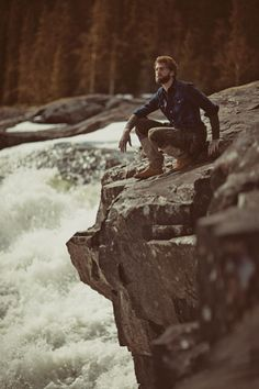 a bearded man by a waterfall.. the most marvelous thing of all