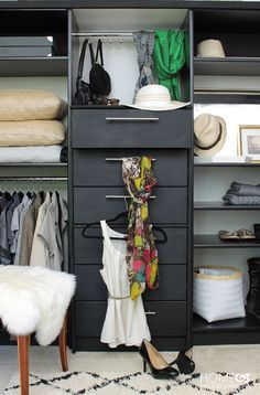A dresser plus 2 bookcases = A Full-Functioning (and Organized) Wardrobe  - HouseBeautiful.com