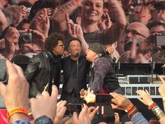 Bruce Springsteen with Jake Clemons and Steven Van Zandt at Malieveld Den Haag.
