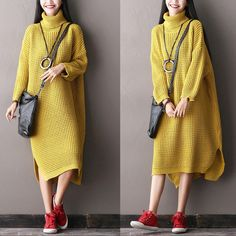 Casual Loose Big Size Bat Sleeve Sweater Long Dress Women Clothes Clothes will not shrink,loose Cotton fabric, soft to the touch. *Care: hand wash or machine wash gentle, best to lay flat to dry. *Mat