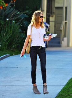 simplicity. skinny jeans, ankle boots, tshirt