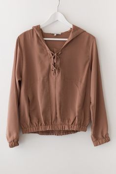 Super cute lightweight hoodie with a lace-up front. Loose fit with fitted and elasticated sleeves and bottom. Made with lightweight non-stretch material. Available in Rust, Ol Casual Outfits, Girl Outfits, Cute Outfits, Fashion Outfits, Vogue, Cute Shirts, Sweater Weather, Autumn Winter Fashion, Just In Case