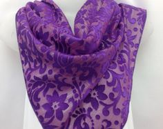 Purple silk scarf, Burnout silk shawl, Holiday Gift, Coworker Gift, Head scarf, Gift Best Friend, Teacher, Daughter, Sister by blingscarves. Explore more products on http://blingscarves.etsy.com