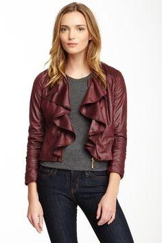 HauteLook | Mystree: Faux Leather Ruffle Front Zip Jacket