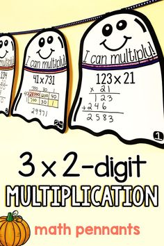 """5th grade students multiply 3-digit numbers by 2-digit numbers in this math activity that doubles as Halloween classroom décor. Each math pennant is in the shape of a ghost. The multiplication problems on each pennant vary in difficulty allowing you to easily differentiate. Once a pennant is complete, it can be hung along a string in your classroom to show the world that, """"Hey, we know how to multiply!"""" Teaching 5th Grade, 5th Grade Math, Multiplication Problems, 5th Grades, Math Activities, Classroom Decor, Student, Fifth Grade"""