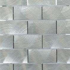 Ivy Hill Tile Urban Silver 12 in. x 12 in. x 8 mm Aluminum Mosaic Tile Gray Kitchen Backsplash, Shower Backsplash, Splashback Tiles, Stainless Backsplash, Mosaic Wall Tiles, Backsplash Ideas, Kitchen Cabinets, Kitchen Counters, Glass Installation