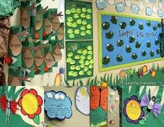 Ending the Year in a Life Cycle Garden~How to turn your hallway into a life cycle garden for open house. I've included a free printable butterfly kids & flower template.