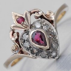 Victorian Ruby Heart Promise Ring....this is a Scottish Luckenbooth!