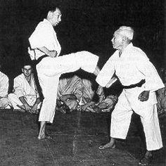 Sensei Funakoshi demonstrating karate