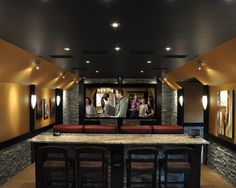 Home Theater Rooms Design, Pictures, Remodel, Decor and Ideas - page 31 ..with walls painted white and with black theater curtains that draw away when movie starts, and for decor touches of tired starlings, silver horses, and moonbeam items (YES!)