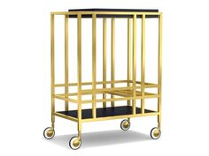 Handsome metal bar cart outfitted with a fully functional tray. Signature burl stripe is reprised on the tray top and stationary bottom shelf.