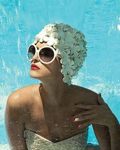 """Vintage summer . Love! My mother had this same cap - wore it up through the 80's when she still dove off the high dive. A Swan. She was a beauty. I recall thinking - """"No""""... but then, she was one who could carry it off. :)"""