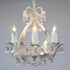 Mini 4-light White Floral Crystal Chandelier | Overstock™ Shopping - Great Deals on Regent Chandeliers & Pendants