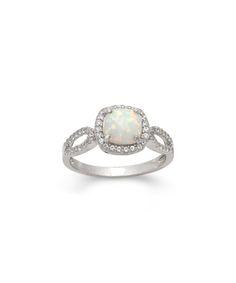Opal & White Sapphire Cushion-Cut Halo Ring