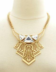 Geometric Rhinestone Cut-Out Bib Necklace: Charlotte Russe