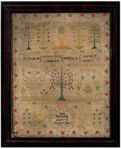 Brunk Auctions - 1815 Adam and Eve needlework,
