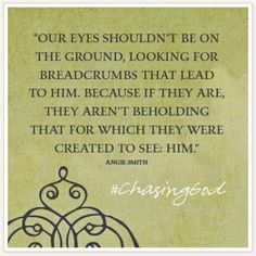 """Our Eyes shouldn't be on the ground, looking for breadcrumbs that lead to him. Because if they are, they aren't beholding that for which they were created to see: Him."" #ChasingGodContest ow.ly/sxbyy"
