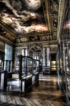 Quiet Gallery at the Louvre Paris France by Evie Carrier Classic Interior, Luxury Interior Design, Beautiful Architecture, Interior Architecture, Louvre, Mansion Interior, Dark Interiors, Gothic House, Ceiling Design