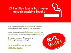£41 million lost to businesses through smoking breaks...#smoking #quitsmoking #health #Wales #pledge #Christmas #infographic #quitforwales