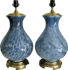 Blue swirl glass lamps