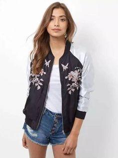 Jaqueta Bomber Bordada Floral - Compre Online | DMS Boutique
