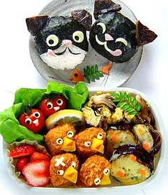 Cats and Birds bento