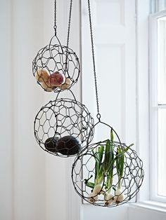 Three Wirework Hanging Baskets