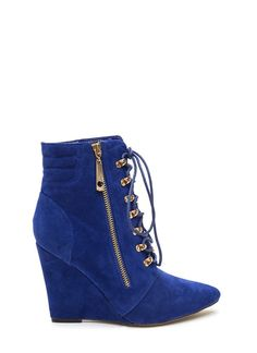 Lace 'Em Up Pointy Wedge Booties BLUE (Final Sale)  http://www.vintageandcurvy.com/product/lace-em-up-pointy-wedge-booties-blue-final-sale