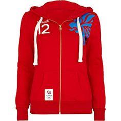 red team gb print hoodie - sweaters / hoodies - t shirts / vests / sweats - women - River Island