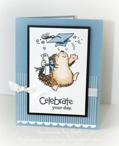 Penny Black hedgehog graduation card
