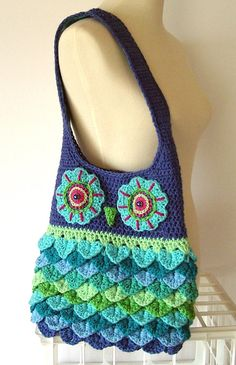Turquoise Aqua Blue Green Crochet Owl Purse Tote by AllKindsofArt