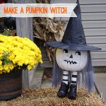 #HalloweenDIY #outdoor decor; make this easy, adorable pumpkin witch @savedbyloves
