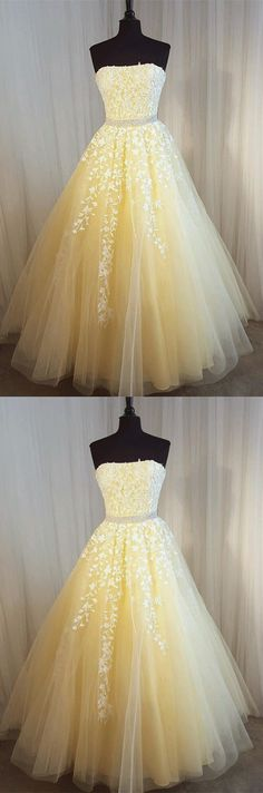 Charming Prom Dress, Long Prom Dresses, Sexy Strapless Tulle Homecoming Dress P0239 #promdresses #longpromdresses #2018promdresses #fashionpromdresses #charmingpromdresses #2018newstyles #fashions #styles #hiprom #lacepromdress #yellowpromdress