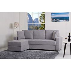 Aspen Ash Convertible Sectional Storage Sofa Bed - Overstock Shopping - Big Discounts on Sectional Sofas