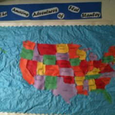 Made by Steph Collins & Kali Seech. Took about hours to complete! Flat Stanley, 5 Hours, Bulletin Board, Projects For Kids, Social Studies, Awkward, Homeschooling, School Stuff, Classroom Ideas