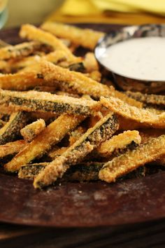 """Baked Panko-Coated Zucchini """"Fries"""" – Try this twist on fries with all the crisp and none of the mess from frying! You'll need zucchini, panko coating mix and a baking pan to get the recipe started."""