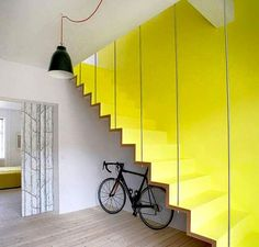 Charming Staircase To The Second Floor With Yellow Wall Wallpaper Plus White Ceiling Then Pendant Lamp For Wooen Floor Decor Idea 95 Beautiful Stairs Design to second floor with creative ideas Contemporary Stairs, Modern Stairs, Contemporary Design, Modern Art, Interior Stairs, Interior Architecture, Interior Design Inspiration, Modern Interior Design, Design Ideas
