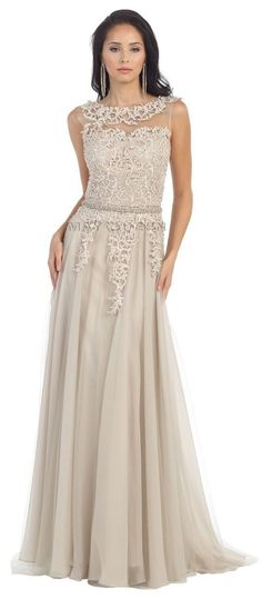 Long Mother of the Bride Dresses Sleeveless Lace Pleated Chiffon Prom Dress