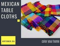 These colorful handwoven Mexican tablcloths will add a perfect punch of color to your table decor and kitchen. They would also be great to help decorate or set your table at your next Mexican fiesta or wedding! These beautiful multicolored patterns with decorative fringe are stunning! Mexican Home Decor, Table Linens, Home Decor Items, Punch, Hand Weaving, Mexico, Home And Garden, Colorful