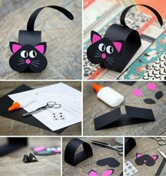Cute Black Pink Paper Cat Craft - Her Crochet Paper Crafts For Kids, Diy For Kids, Diy And Crafts, Simple Crafts, Summer Crafts, Bunny Crafts, Easter Crafts, Paper Animals, Pink Paper