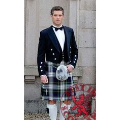 Clothing, Shoes & Accessories Generous New Scottish Tartan Wedding Mens Kilt 8 Yard Polyviscose In Black Stewart High Standard In Quality And Hygiene