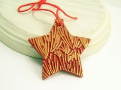 Shimmery Gold and Red Star Ornament, Abstract Fun Art, Keepsake Ornament, Affordable Handmade Polymer Clay Ornaments  by BobblesByCarol, $12.00 USD