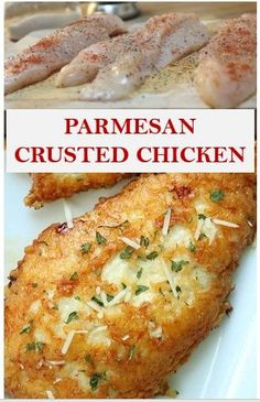 This delicious Oven Baked Chicken Parmesan recipe is easy and doesn't require any frying. Because this chicken Parmesan is baked, it is healthy, quick and easy! Make this crispy baked Parmesan crusted chicken for dinner tonight in about thirty minutes! Baked Parmesan Crusted Chicken, Chicken Parmesan Recipes, Healthy Chicken Recipes, Cooking Recipes, Crockpot Recipes, Gluten Free Recipes For Dinner, Pasta, Dinner Tonight, Keto