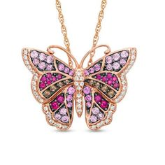Lab-Created Multi-Gemstone and White Sapphire Butterfly Pendant in Sterling Silver with Rose Gold Plate - View All Necklaces - Zales Peoples Jewellers, Sparkly Jewelry, Butterfly Pendant, Pink Love, White Sapphire, Personalized Jewelry, Rose Gold Plates, Jewelry Stores, Jewelry Necklaces