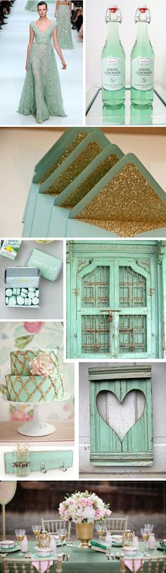 Weddings - Mint, rose and gold - this has a really fresh and yet a touch retro feel to it.  Mint leaning toward the aqua has a subtle sophistication to it's color.  I'm looking forward to seeing more weddings in this hue.