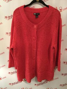 dc4ecb189ce96f Carole Little Size 3X Pink Button Down Sweater
